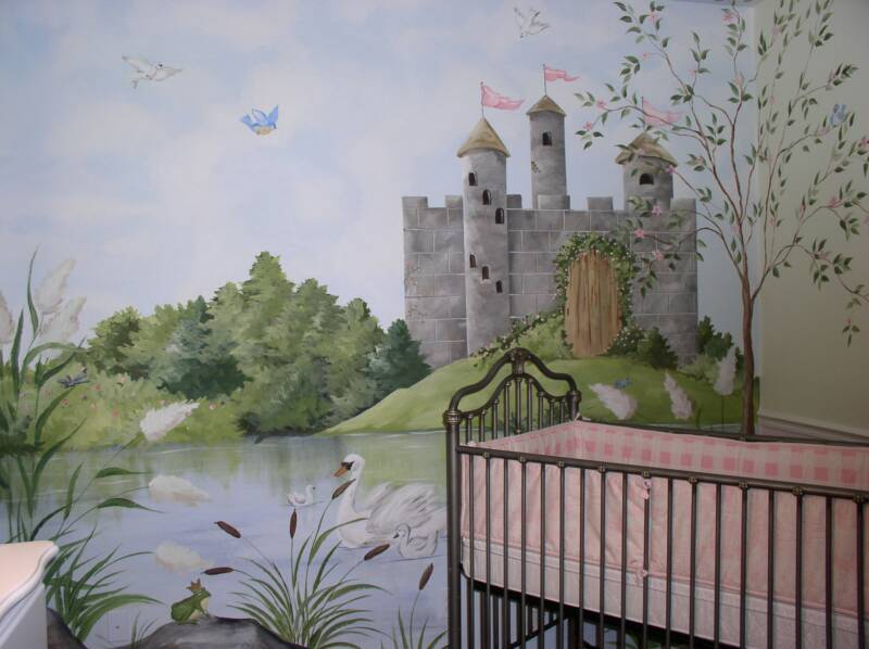 Painted wall murals 2017 grasscloth wallpaper for Castle mural kids room