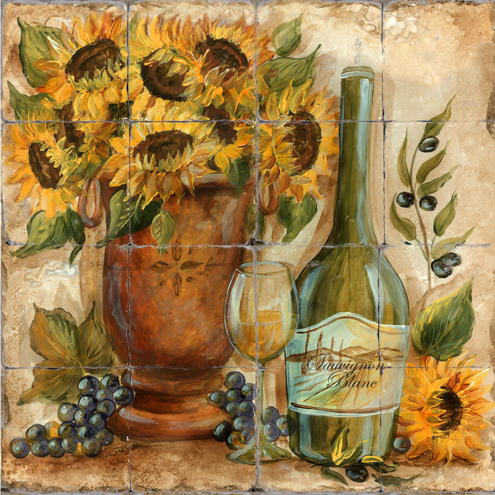 Printed_Tile_Sunflower_White_Wine Kitchen Paint Ideas With Sunflower Decor on sunflower paper towel holder kitchen, sunflower bathroom ideas, sunflower kitchen art, modern kitchen ideas, sunflower table decor, sunflower mesh wreaths for front door, sunflower wedding ideas, sunflower living room ideas, sunflower metal wall art, kitchen bar ideas, sunflower garden ideas, kitchen colors ideas, sunflower wedding balls decor,