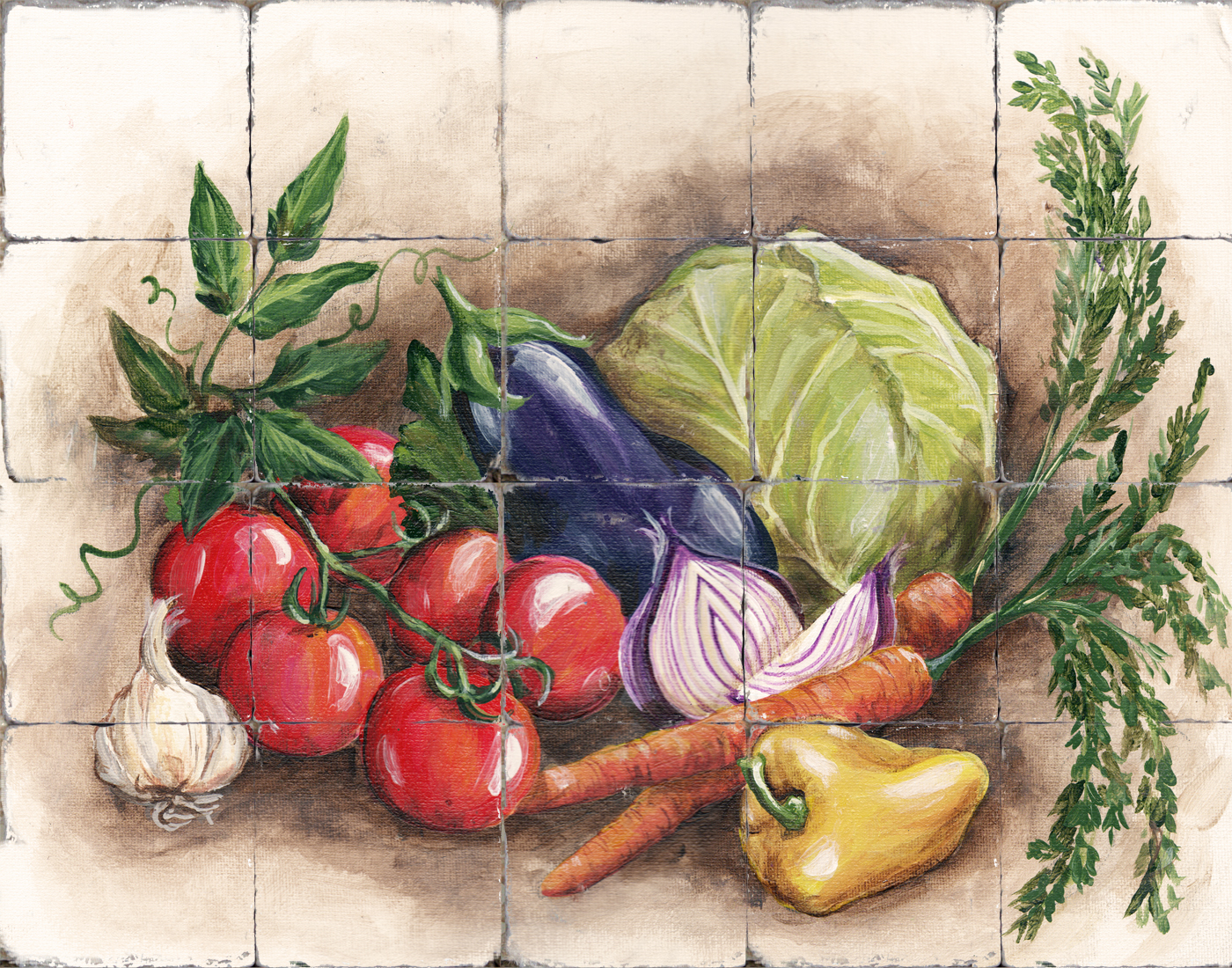 Tuscan kitchen wall art - Tre Sorelle Printed Tile Murals