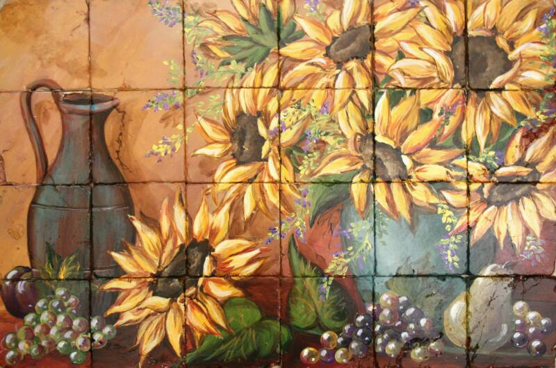 Sunflower Still Life Tile Mural With Fruit