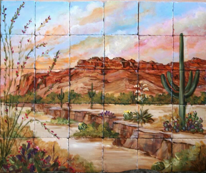 Desert southwest tile murals for Desert wall mural