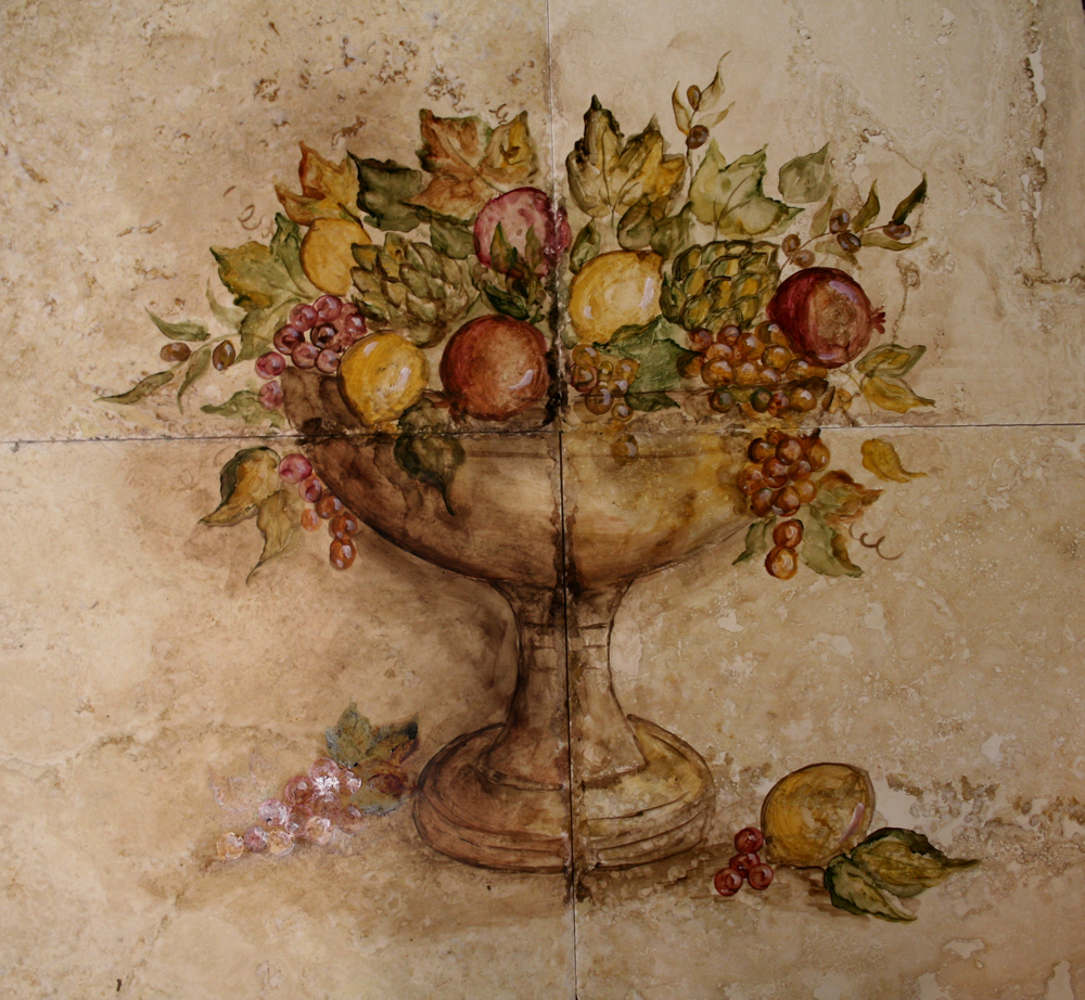 Poppy Hill Tuscan Kitchen: Custom Hand Painted Tile Murals