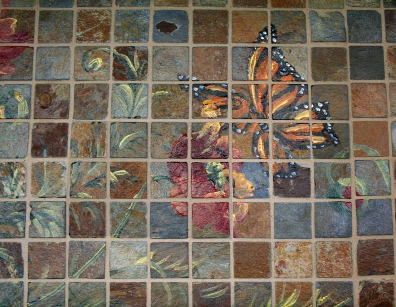 Hand painted stone mosaic tile murals for Custom mural tiles