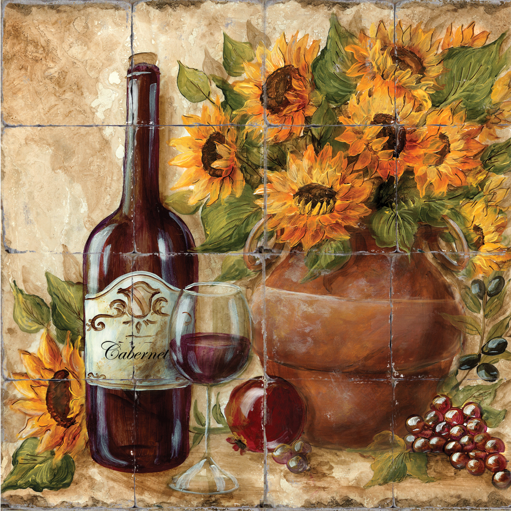 Tuscan Kitchen Art: Tre Sorelle Printed Tile Murals