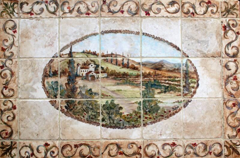 lovely Tuscan Tile Murals Part - 10: Tre Sorelle Studios