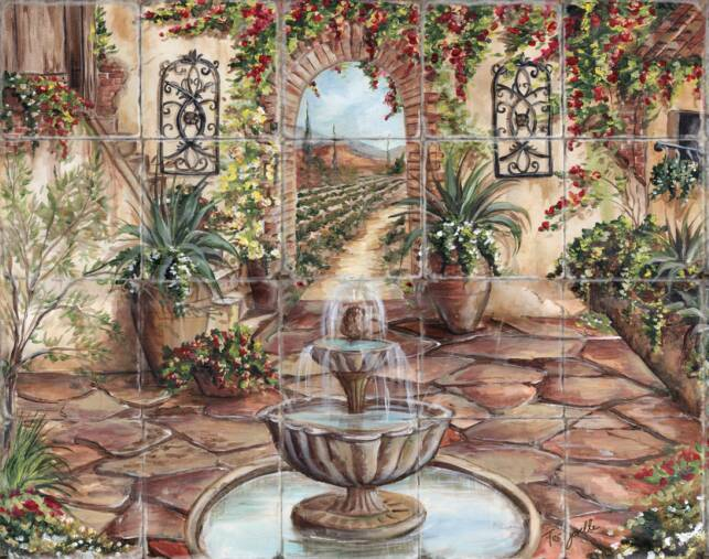 Tre sorelle printed tile murals for Cypress gardens mural