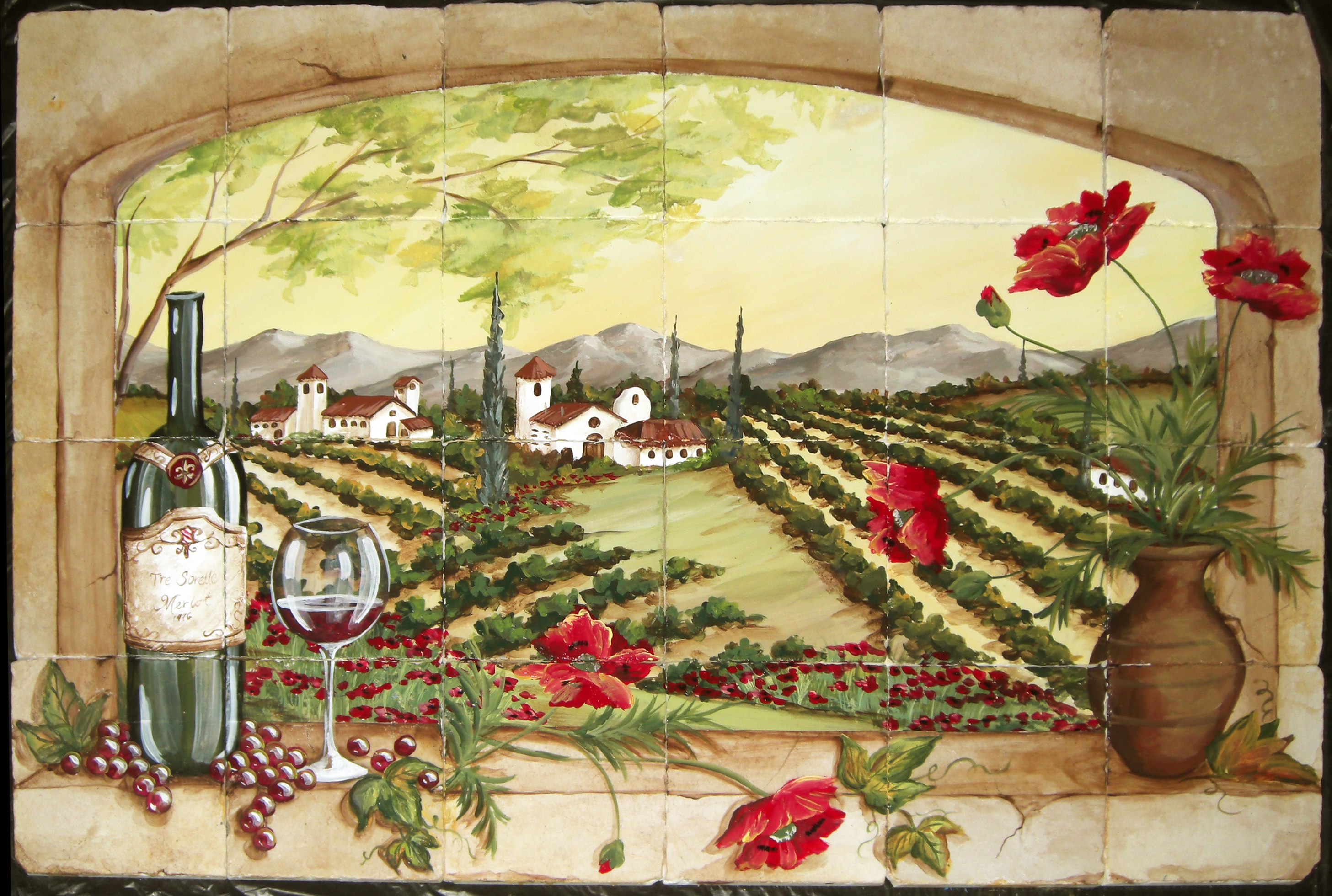 Tuscan Vineyard Tile Murals