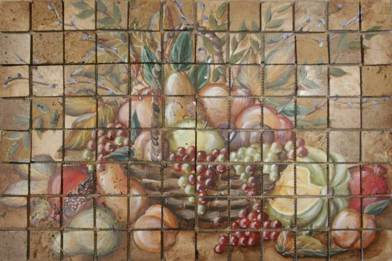 Hand Painted Stone Mosaic Tile Murals